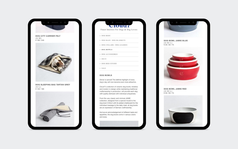 Onlineshop für Hunde-Accessoires [mobile]