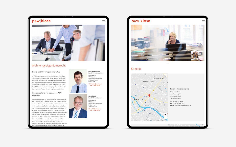 P & W Klose Rechtsanwälte Website [tablet]