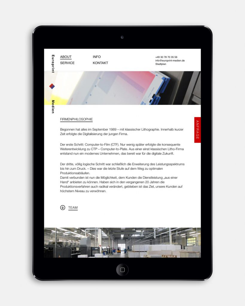 Europrint Medien – Onepage [iPad]