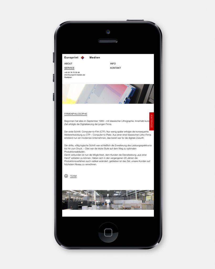 Europrint – Onepage [iPhone]