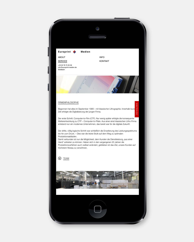 Europrint Medien – Onepage [iPhone]