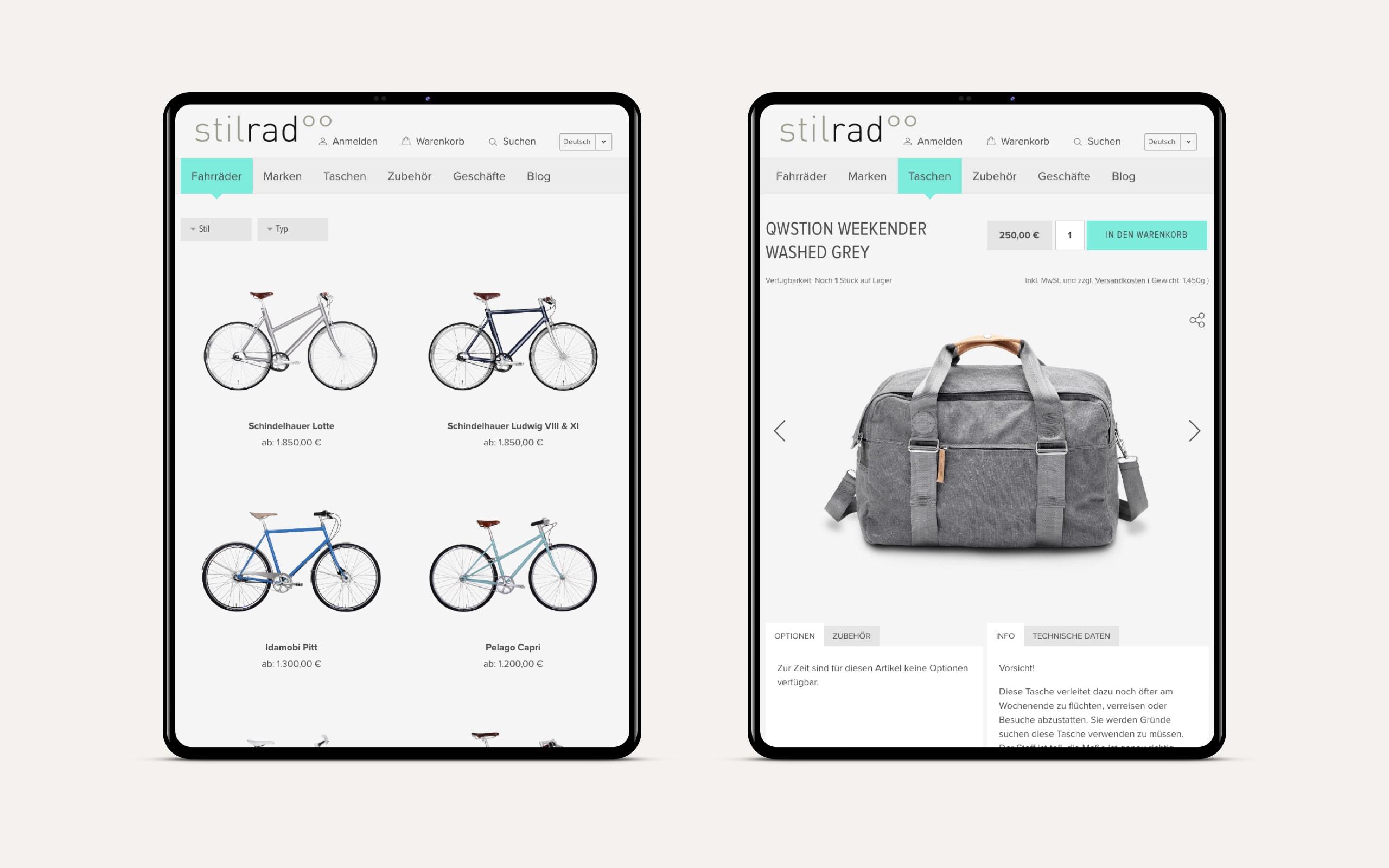 Stilrad Onlineshop Produktseiten [tablet]