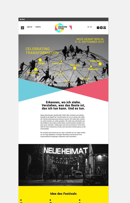 ForeverNow Festival Website Homepage [screen]