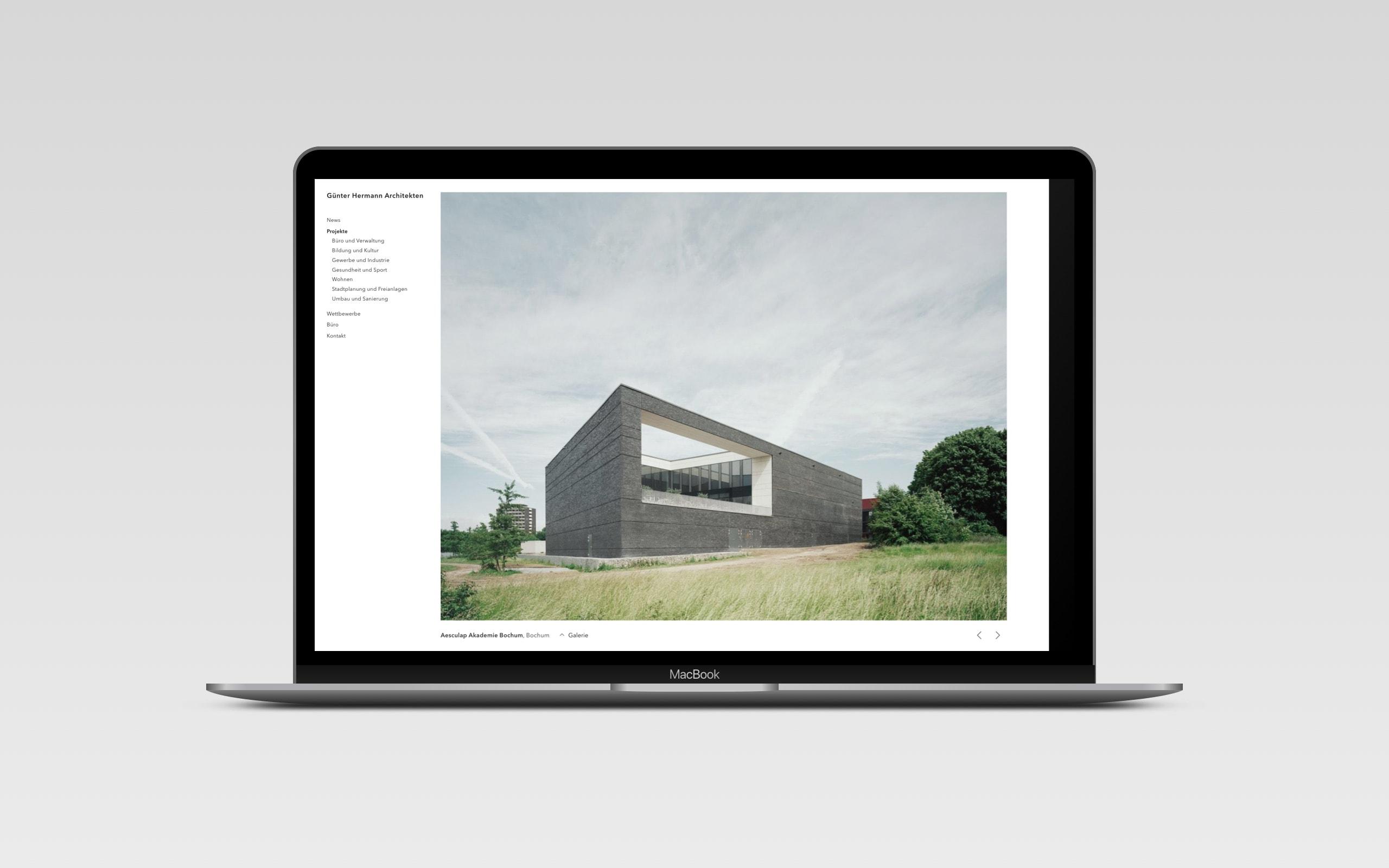 Günter Hermann Architekten – Detailseite [Wireframe]
