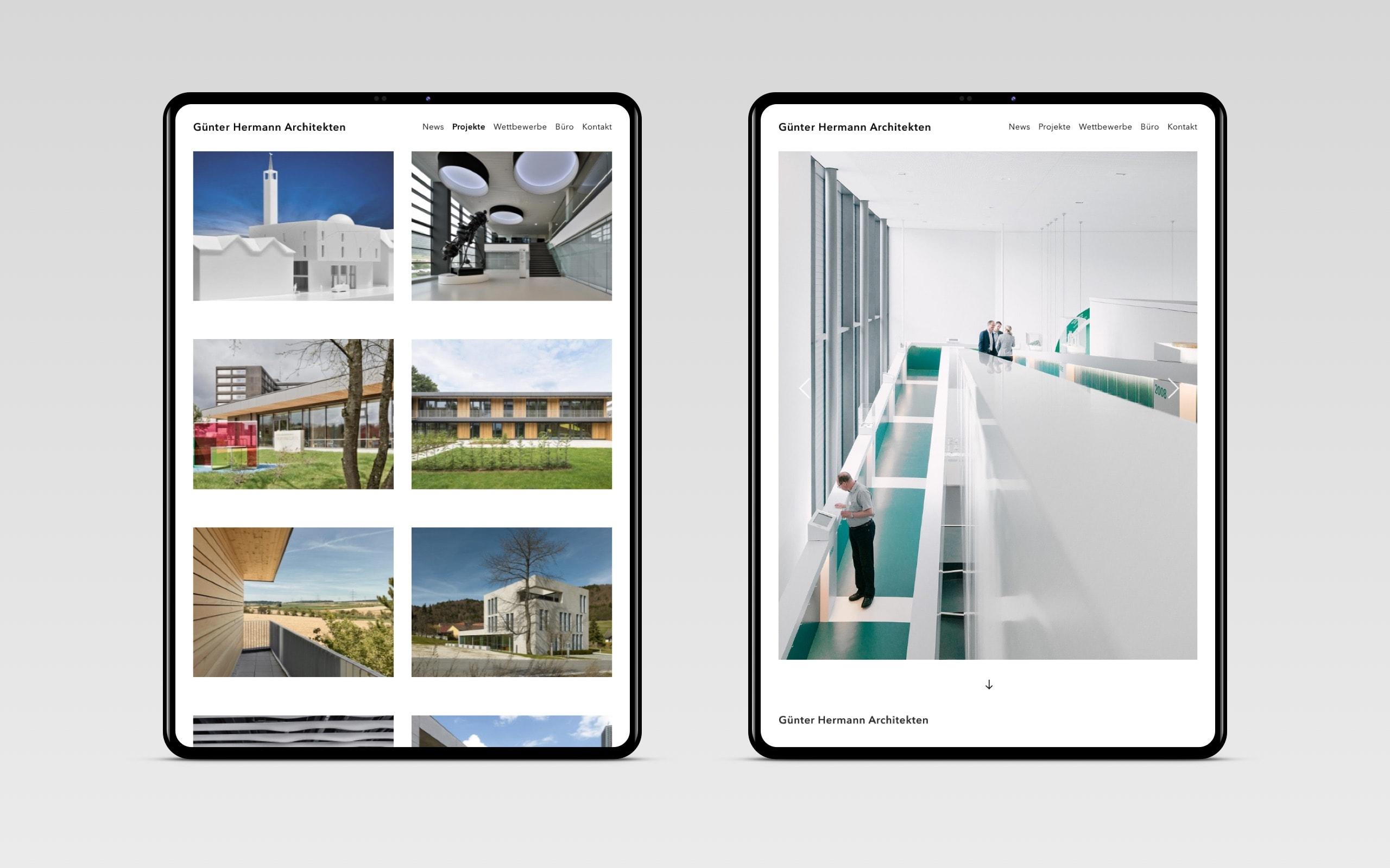 GH Architekten – Projektseiten [Tablet]