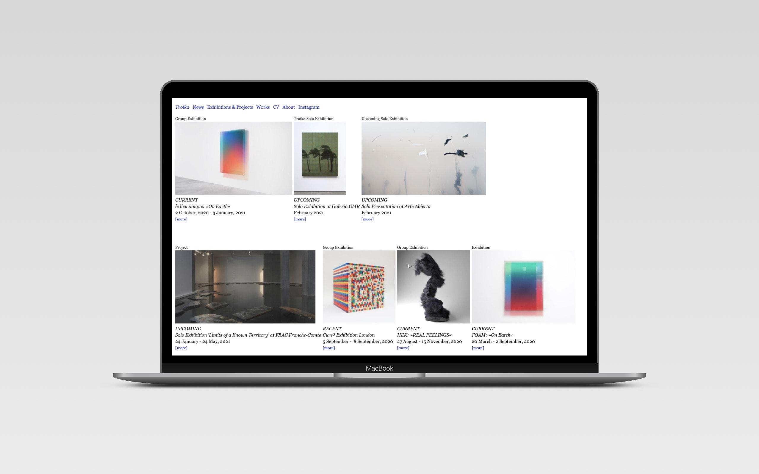 Troika Artist Collective - News Seite [Laptop]