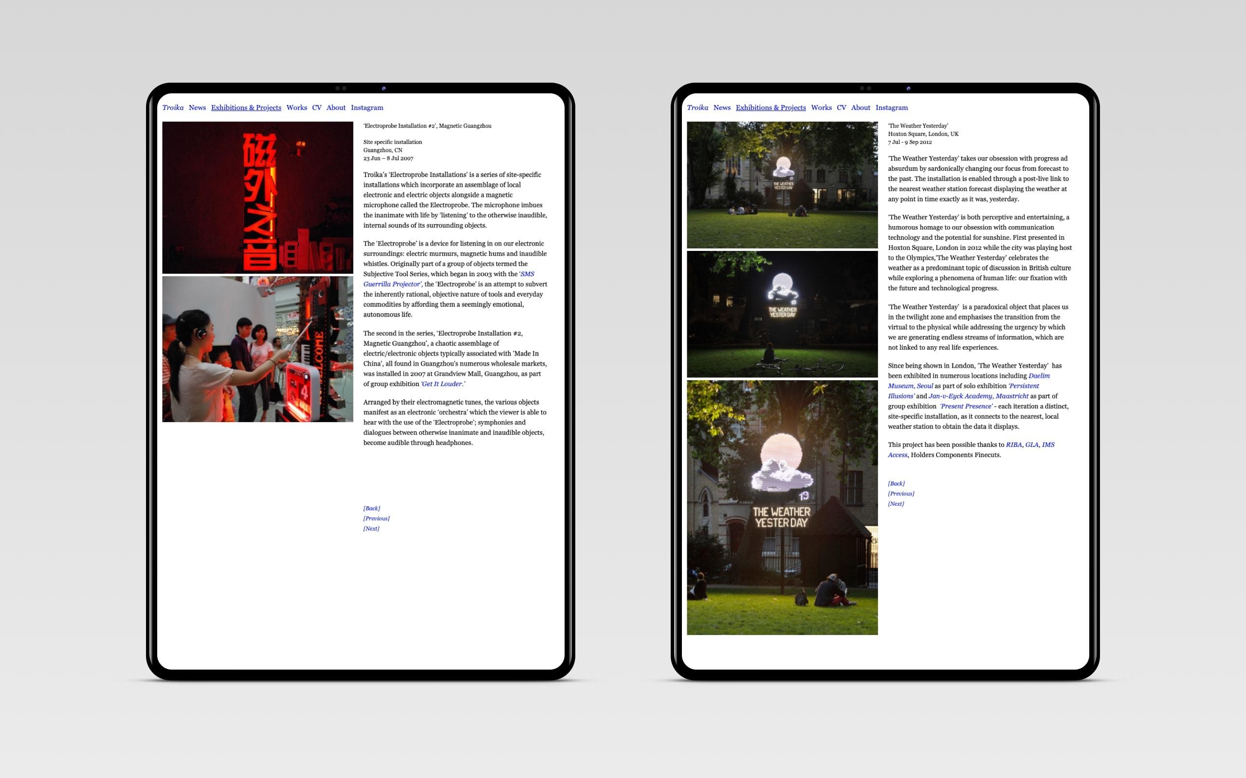 Troika Artist Collective – Projekt Detailseiten [tablet]