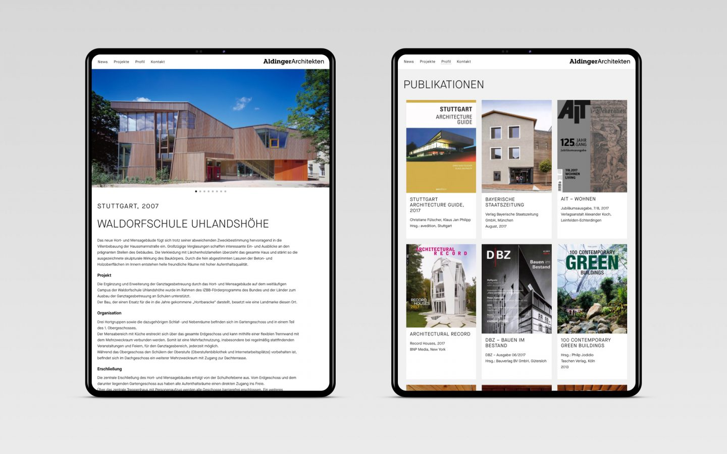 Aldinger Architekten Webdesign Tablet