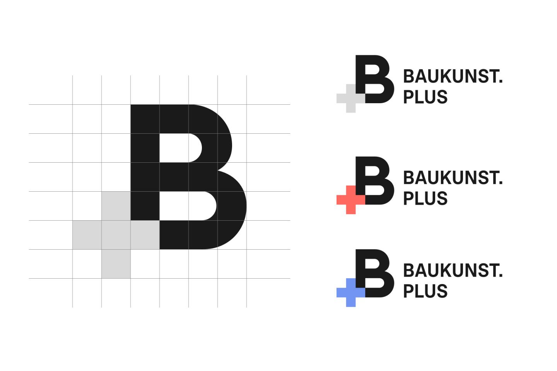 Baukunst Plus Identity Logotype