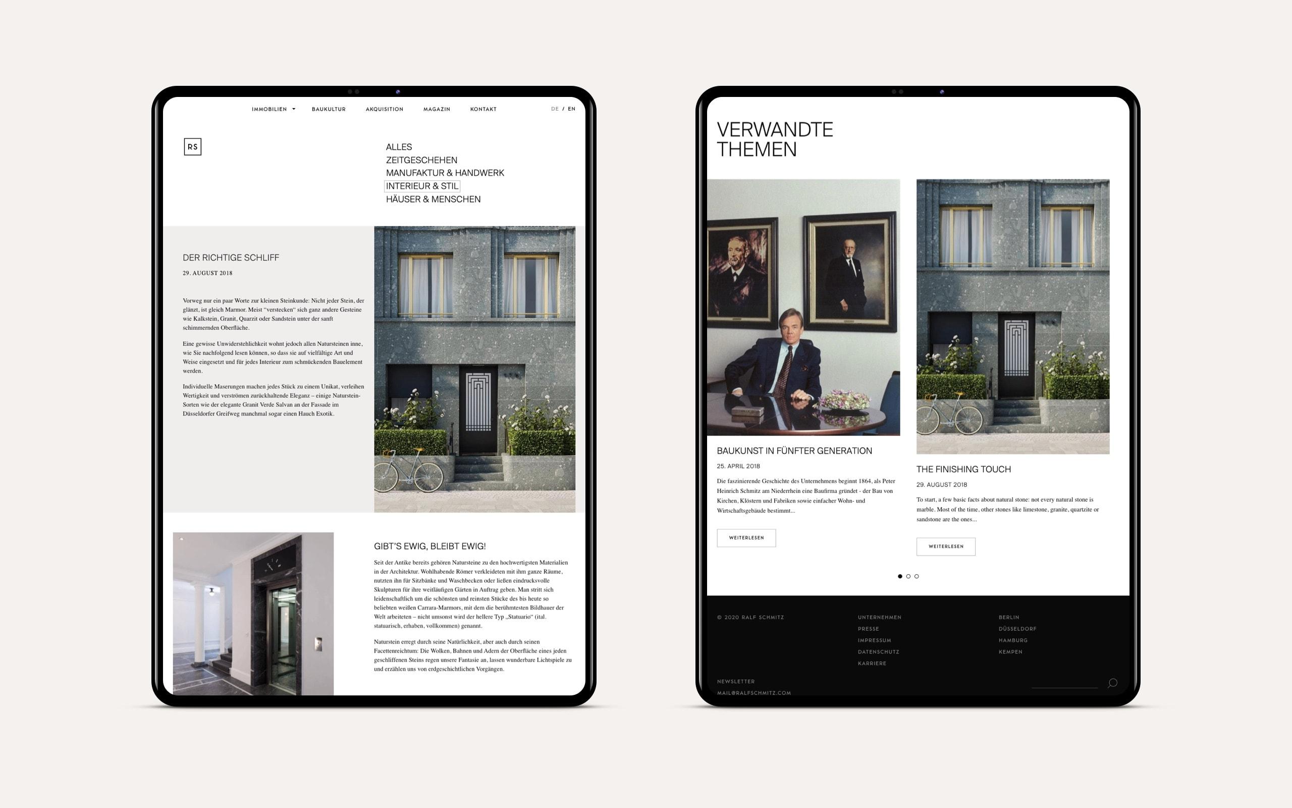 Ralf Schmitz Immobilien Webseite Tablet Format